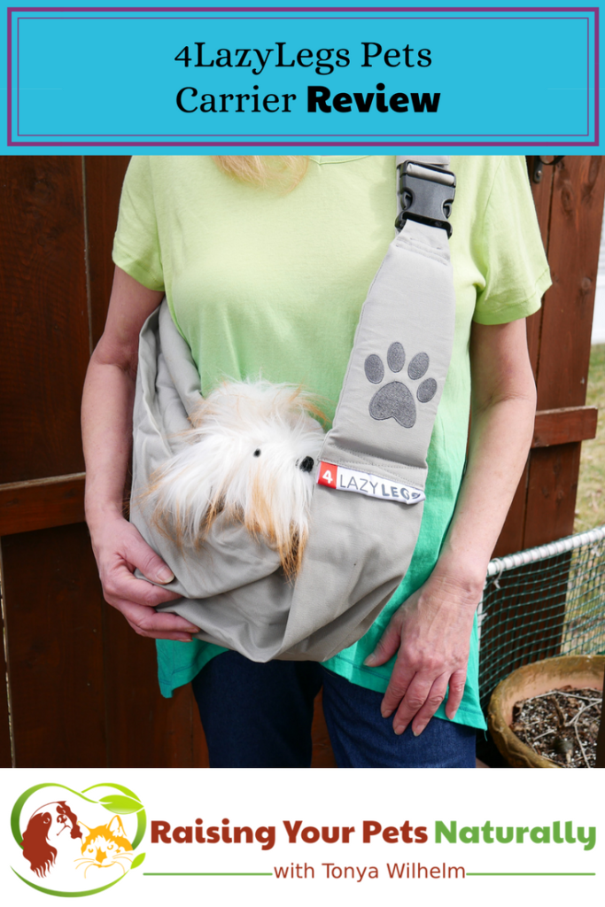 4LazyLegs Pets Carrier sling review. Sometimes a dog needs a little help and a dog sling just may be the solution. #raisingyourpetsnaturally #petcarrier #dogcarrier #dog backpack #dogsling #dogfrontcarrier