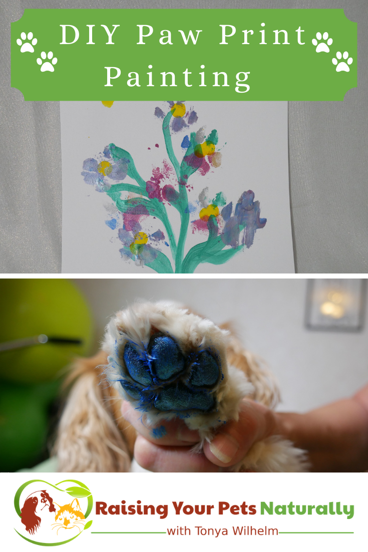 DIY Paw Print Painting Keepsake. Learn How to Make a Homemade Paw Print Painting. Raisingyourpetsnaturally #diydog #dogdiy #dogcrafts #upcyclepets #dogpawprint